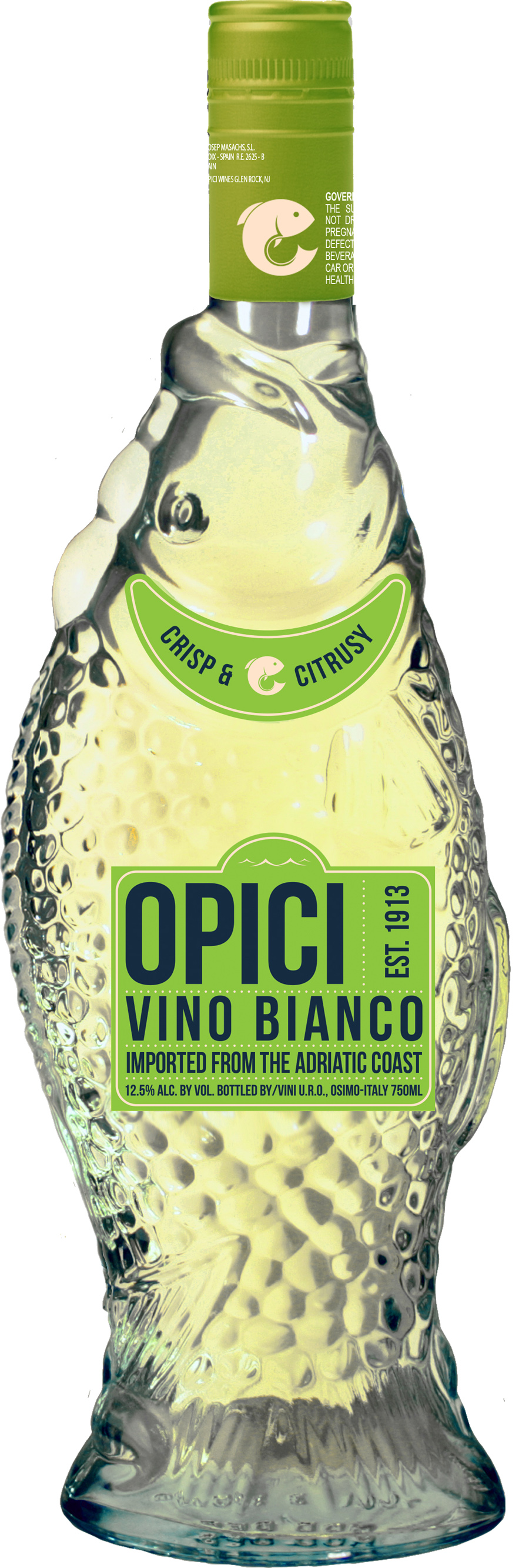 Vino bianco fish bottle for Fish wine bottle